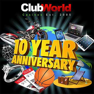 Win Big with Club World Online Casino's 10th Anniversary Celebration